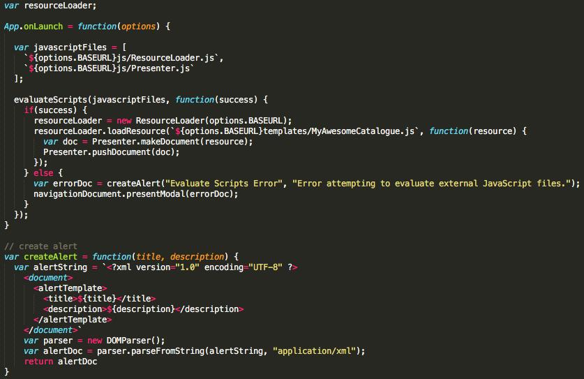 Screenshot of the code when JS app is starting