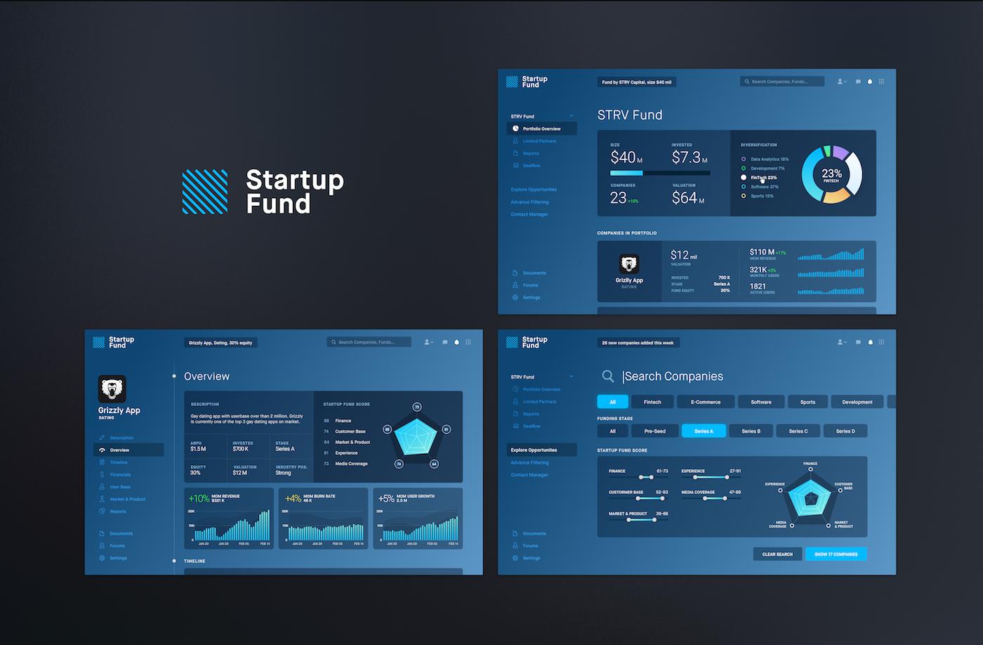Startup Fund screens