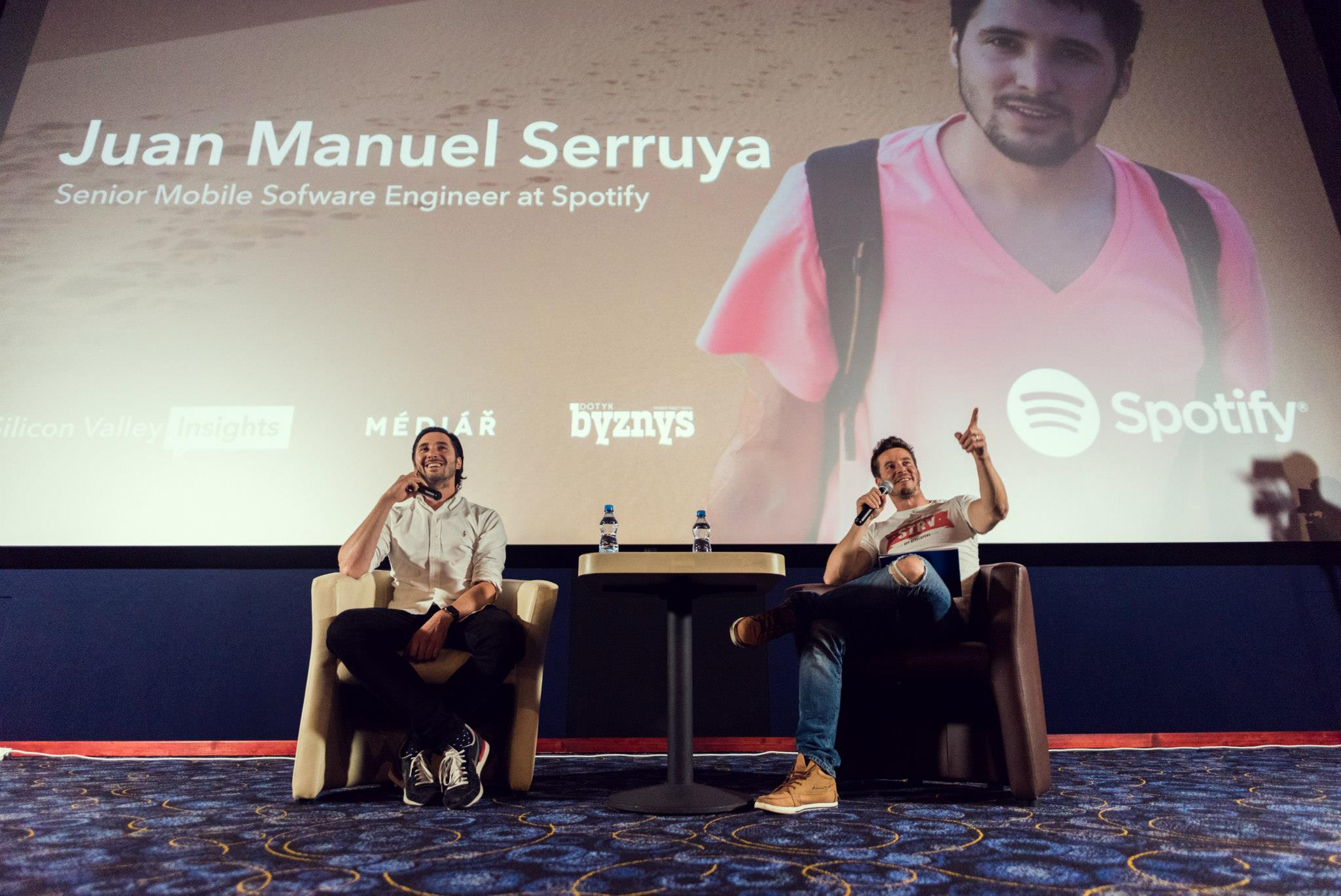 Juan Manuel Serruya and David Semerad during fireside chat