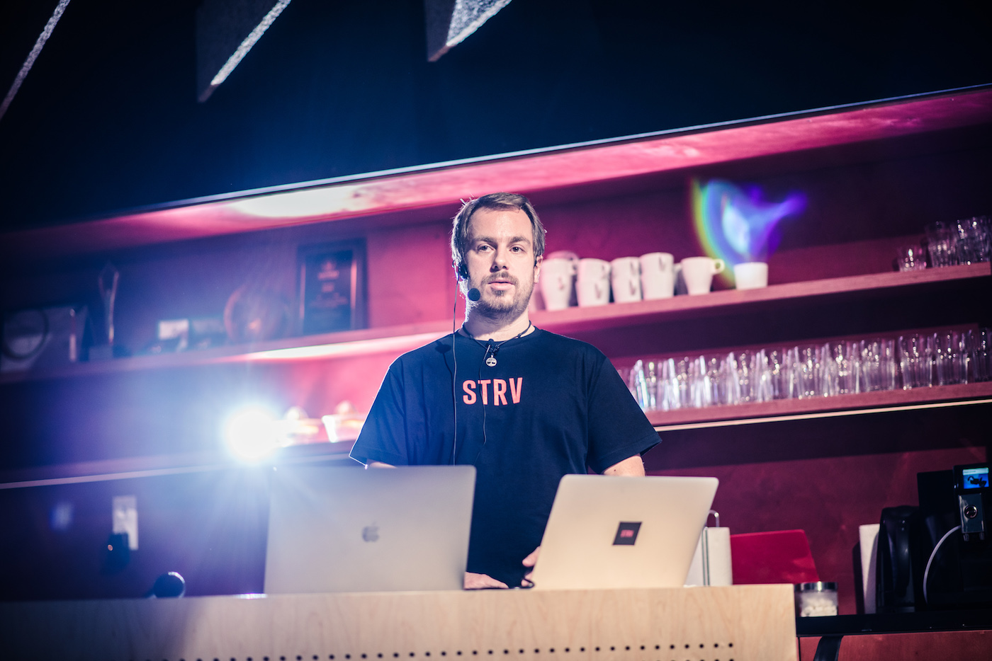 strv backend developer meetup 2017 - robert rossmann speaking on the stage